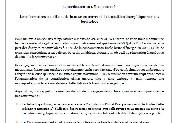 La fédération FLAME contribue au grand débat national