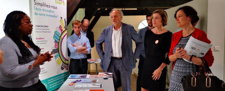 Emmanuelle Wargon visite l'Espace Conseil FAIRE de l'Agence Parisienne du Climat